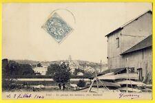 """cpa RARE 78 - TRIEL sur SEINE (Yvelines) GARAGE à BATEAUX """"Chez MALLARD"""" en 1904"""