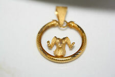 Designer 3D 18K Solid Yellow Gold Ram Aries Astrological Zodiac Sign Pendant