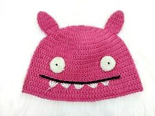 UGLY DOLL Women's Uglyhat Pink Crocheted Beanie Cap Bat Wings