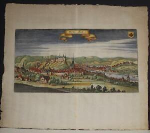 HUY BELGIUM 1659 MATTHÄUS MERIAN UNUSUAL ANTIQUE COPPER ENGRAVED CITY VIEW