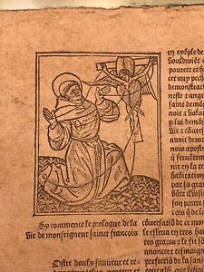 C. 1490 Very Rare French Medieval Incunabula (15th Century) Woodcuts