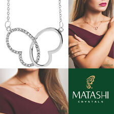 """Matashi 16"""" Rhodium Plated Necklace w/ Intertwined Heart Butterfly & Crystals"""