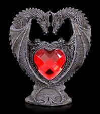Drachen Figur - Liebespaar mit rotem Herz - Gothic Deko Statue schwarz Liebe