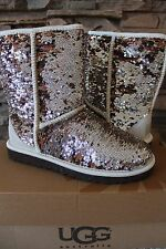 NIB UGG AUSTRALIA Women's Classic Sparkles Short Boots Size 10 EU 41 CHAMPAGNE