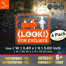 Look For Cyclists Sticker (4 pcs) Bicycle Bike NYC DOT Taxi Car Door Window Sign