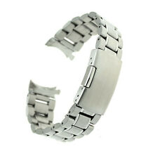 20mm Curved End Stainless Steel Watch Band Bracelet Solid Links Silver
