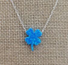 925 Sterling Silver Created Blue Opal Four Leaf Clover Pendant Necklace