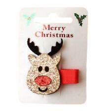 Navidad Rudolph Reno Clip Cabello Pico Brillo diapositiva Agarre Navidad Accesorios