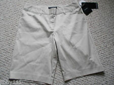 Daisy Fuentes Womens Tan Pin Striped Bermuda Shorts City Fit Size 6 New