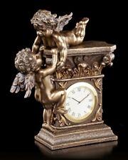 Table Clock - Two Cherubim Angel - Veronese Watch Mantel Guardian Decor