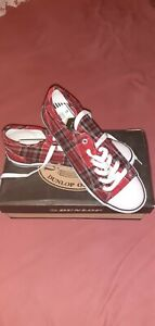 Red Tartan Dunlop Trainers Size 6