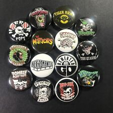 "Psychobilly 1"" Button Pin Set Tiger Army Nekromantix Horror Pops Rockabilly Punk"