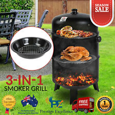 3in1 Portable Charcoal Vertical Smoker BBQ Roaster Grill Steel Water Steamer