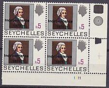 SEYCHELLES 1976 CORNER BLOCK OF 4 MNH - CHEVALIER QUEAU DE QUINCY - GOVERNOR