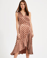 Phase Eight NEW Bea Spot Occasion Midi Wrap Dress in Camel Sizes 8 to 16