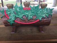 "Vintage Atlantic Mold Christmas Yule Log Candle Holder Holly Berries Ceramic 12"""