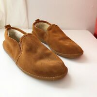 Minnetonka Mens 13 Pile Lined Romeo Slipper Brown Suede Moccasins Shoes