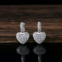 925 Silver Drop Earrings for Women White Sapphire Jewelry Gifts A Pair/set