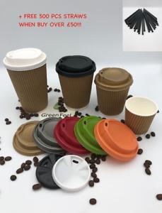 KRAFT RIPPLE TRIPLE WALL PAPER CUPS 500 x 12oz HOT DRINK DISPOSABLE COFFEE & LID