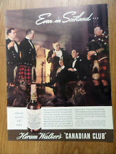 1937 Hiram Walker's Whiskey Ad Even in Scotland Kilts Uncle Duncan of Cromarty