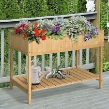 Outsunny Wooden Herb Planter Stand 8 Cubes Bottom Shelf Raised Bed 110x46x76cm