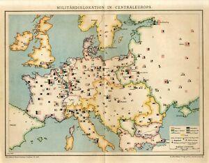1897 MILITARY FORCES EUROPE GERMANY RUSSIA POLAND UKRAINE KIEV AUSTRIA Map dated