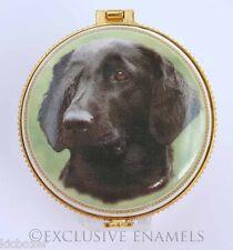 Alastor Enamels Black Labrador Retriever Dog Round Hinged China Trinket Box