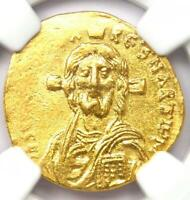 Justinian II AV Solidus Gold Christ Coin 685-695 AD, First Reign - NGC MS (UNC)