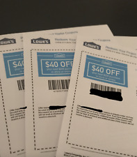 THREE 3X Lowes $40 OFF $200 Lowe's Coupons - IN STORE/ONLINE  - USPS FIRST CLASS