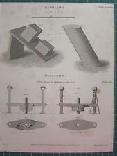 1815 DATED ANTIQUE PRINT MECHANICS DIRECTION OF MOTION MR HILLS MACHINE DRAWING