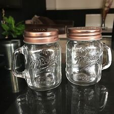 Copper MASON JARS CLEAR GLASS SALT AND PEPPER POTS SHAKER SPRINKLE BOTTLES SET
