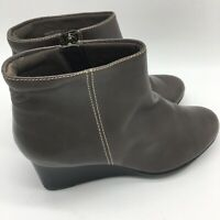 Clarks Gray Leather Wedge Boots, Size 7.5 W