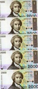 LOT Croatia, 5 x 2,000 (2000) Dinara, 1992, P-23, UNC