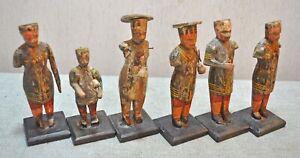 Original Old Vintage Set of 6 Hand Carved Painted Wooden Musician Figurine Set