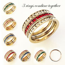 Stainless steel rainbow ring with CZ stones around