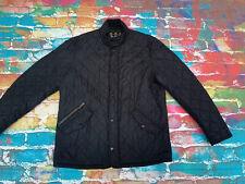 Z41 Men's Barbour Quilted Jacket Large Coat Black Corduroy Collar