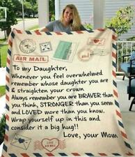 To My Daughter Whenever You Feel Overwhelmed Love Mom Quilt, Fleece Blanket