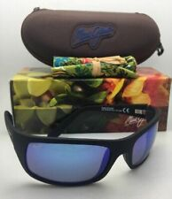 Polarized MAUI JIM Sunglasses PEAHI MJ 202-2M-SGH Black Rubberized w/Blue Hawaii