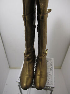 CASADEI, GORGEOUS GOLDEN KNEE HIGH BOOTS   FLATS  SIZE 9  MADE IN ITALY