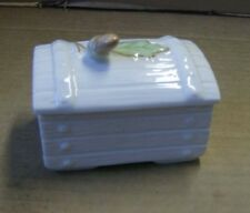 Belleek fine china lidded trinket pot box Acorn on chest . In Retrospect 2000