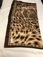 "Vtg Sunkyung Sa Women's Square Scarf, Animal Print Brown  Boarder 33.5""x36"""