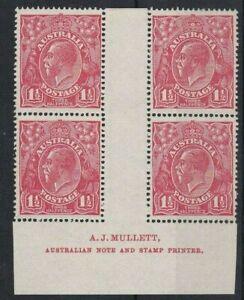 G742) Australia 1924 Single watermark KGV 1½d Red Mullett imprint block of 4 f