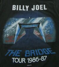 """Vintage '86 BILLY JOEL """"The Bridge"""" Concert Tour Black SS T Shirt Size S"""