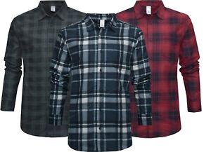 Mens Flannel Work Shirt 100% Cotton Brushed Lumberjack Check Long Sleeve S - 4XL