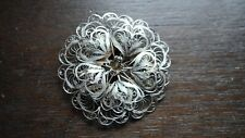 Layered Petals Large Flower Pin Vintage Mexican Sterling Silver Lace Filigree