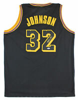 Lakers Magic Johnson Authentic Signed Black Jersey w/ Black Numbers BAS Witness