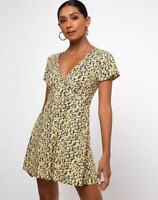 MOTEL ROCKS Elara Tea Dress in Mini Bloom Yellow S Small   (MR97)