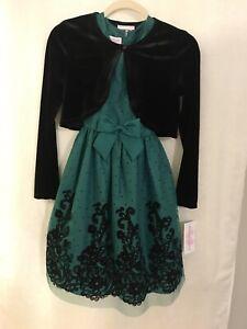 NWT Bonnie Jean 2 Piece Set Sleeveless Dress Black Velvet Cardigan Girls Size 14