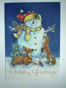 SNOWMAN & FOREST FRIENDS CHRISTMAS GREETING CARD + DESIGNER ENVELOPE