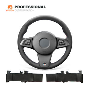 Black Genuine Leather Steering Wheel Cover Wrap for BMW Z4 E89 2009-2016